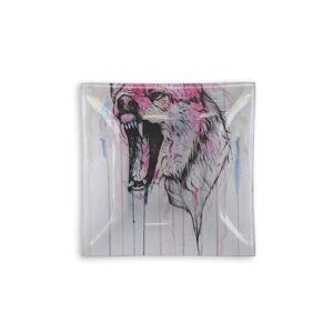 VIDA Square Glass Tray - I'm Back in Brown/Pink by VIDA Original Artist  - Size: Large