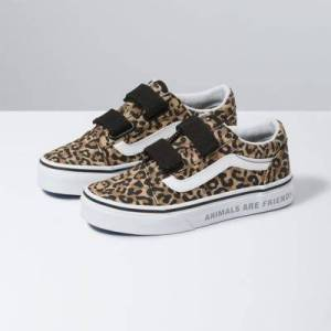 Vans Kids Animal Checkerboard Old Skool V (Leopard/Black)  - Size: 1.5 Kids