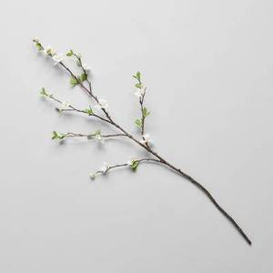 """Bloomist """"Bloomist EcoFaux White Quince Branch, 38.75"""""""" in White/Green/Black, 38.75""""""""L"""""""