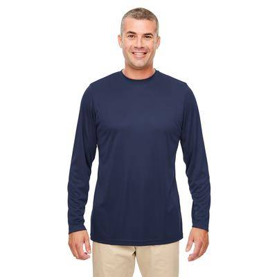 UltraClub 8622 Men's Cool & Dry Performance Long-Sleeve Top in Navy Blue size 5XL   Polyester