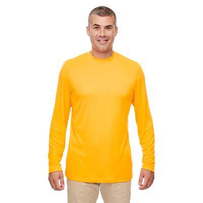 UltraClub 8622 Men's Cool & Dry Performance Long-Sleeve Top in Gold size 5XL   Polyester