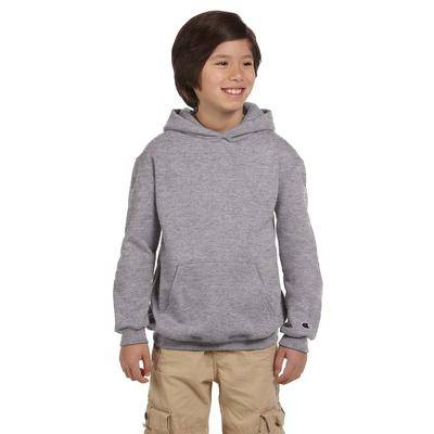 Champion S790 Youth 9 oz. Double Dry Eco Pullover Hood T-Shirt in Light Steel size Large   Cotton Polyester