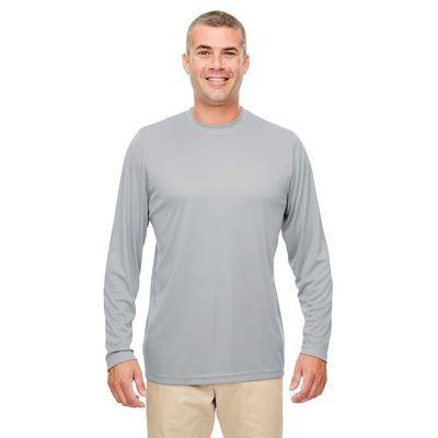 UltraClub 8622 Men's Cool & Dry Performance Long-Sleeve Top in Grey size 5XL   Polyester
