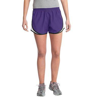 Sport-Tek LST304 Women's Cadence Short in Purple/White/Black size 4XL   Polyester