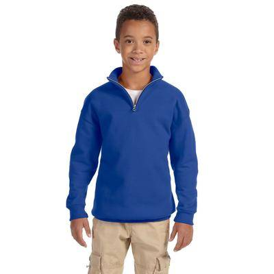 Jerzees 995Y Youth 8 oz. NuBlend Quarter-Zip Cadet Collar Sweatshirt in Royal Blue size Small   Cotton Polyester 995YR