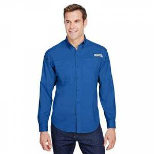 Columbia 7253 Men's Tamiami II Long-Sleeve Shirt in Vivid Blue size XL   Polyester 128606