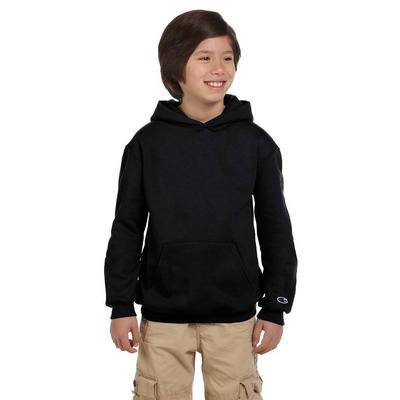 Champion S790 Youth 9 oz. Double Dry Eco Pullover Hood T-Shirt in Black size Large   Cotton Polyester