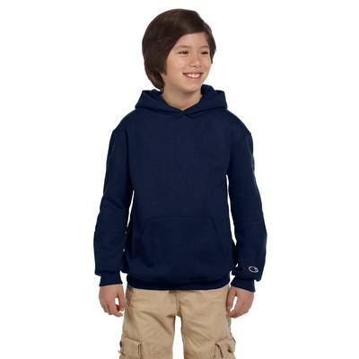 Champion S790 Youth 9 oz. Double Dry Eco Pullover Hood T-Shirt in Navy Blue size Small   Cotton Polyester