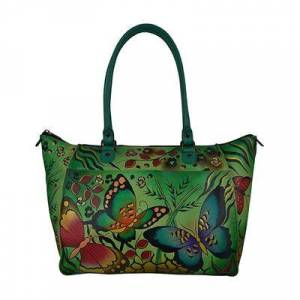 Anna by Anuschka Women's Totebags Animal - Animal Butterfly U-Handle Hand-Painted Leather Tote