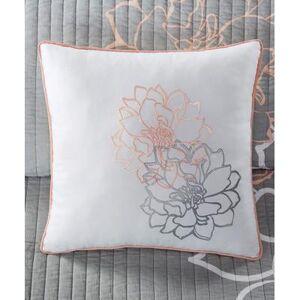 Main Street Quilt Sets Grey/Blush - Gray & Blush Floral Six-Piece Reversible Coverlet Set
