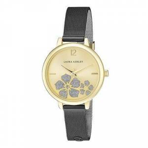 Laura Ashley Women's Watches - Black Sunray Floral Stone Dial Strap Watch