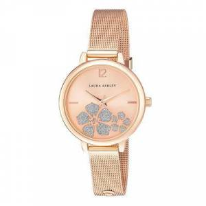Laura Ashley Women's Watches - Rose Goldtone Sunray Floral Stone Dial Strap Watch
