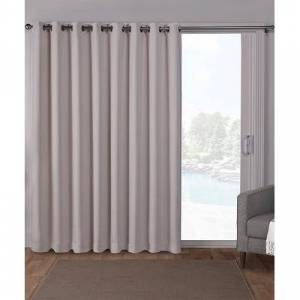Exclusive Home Blackout & Room Darkening Curtains Silver - Silver Sateen Blackout Patio Curtain Panel