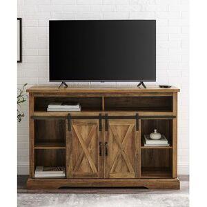 Walker Edison Media Stands Rustic - Rustic Oak Finish Modern Farmhouse High Boy Media Console