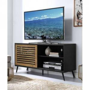 Walker Edison Media Stands Black/Barnwood - Black & Barnwood Finish Sliding-Door TV Console