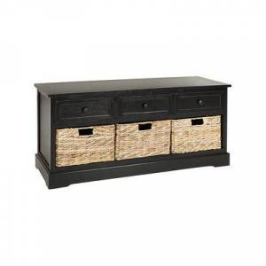 Safavieh Benches DISTRESSED - Distressed Black Abby Three-Drawer Storage Unit