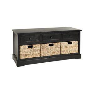 Safavieh Benches DISTRESSED - Distressed Black Abby Three-Drawer Storage Unit