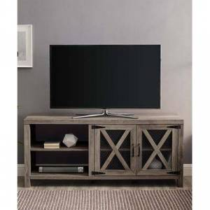 Walker Edison Media Stands Grey - Gray Wash Mesh-Door Media Console