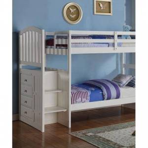 Donco Kids Bunk Bed WHITE - White Mission Twin/Full Stairway Bunk Bed