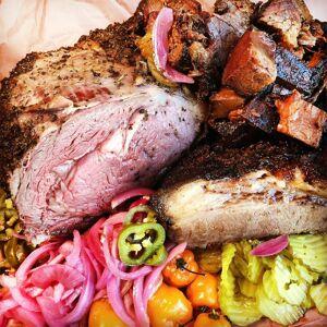 Lockhart Smokehouse - Texas BBQ Sampler - Brisket, Prime Rib & Burnt Ends