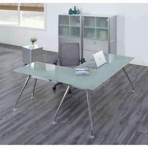 NBF Signature Series Brilliant Executive Glass L Desk Suite