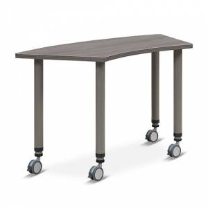 "NBF Signature Series Valuemax PieShaped Mobile AdjustableHeight Table 44.5""W x 23.5""D"