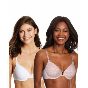Maidenform One Fab Fit Demi Bra 2-Pack Chocolate Pink Whisper Dot/White 36B Women's