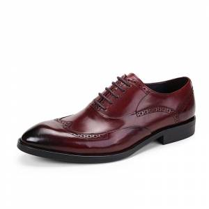 Men's Four Seasons Classic British Leather Oxford Shoes Red - Size: wine - Size: 7.5