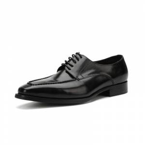Men's Four Seasons Stylish Lace-up Leather Business Shoes Black - Size: 8.5
