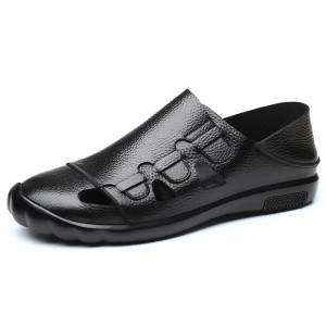 Men Closed Toe Hand Stitching Soft Leather Sandals Black - Size: 10