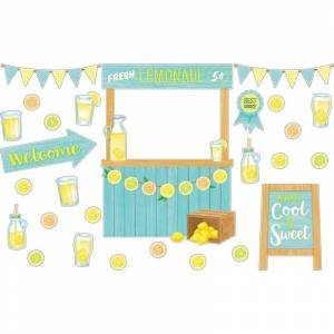 TEACHER CREATED RESOURCES Lemon Zest Lemonade Stand Bulletin Board Set (Paper), Yellow, TEACHER CREATED RESOURCES