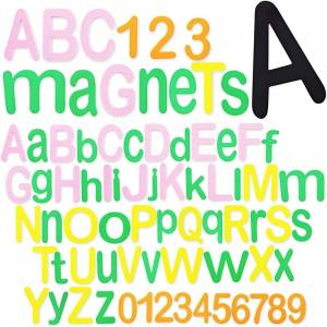 """Magnetic ABC Alphabet Letters Numbers Kit in 140 Pieces for Educating Kids - 3"""" X2 """" (Green)(Rubber)"""