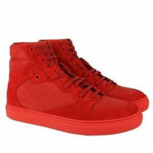 Balenciaga Men's Hi Top Red Nu-buck Suede / Rubber Sneaker 412347 (40 EU / 7 US)