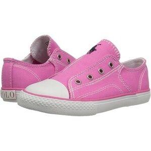 Ralph Lauren Polo Ralph Lauren Kids' Rowan Sneaker - 6 (Medium - Baja Pink Canvas White Pop - 6), Girl's