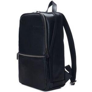 "Alpine Swiss Men's Sloan Slim 14.1"" Laptop Backpack Top Grain Leather - Black - One Size (Black)"