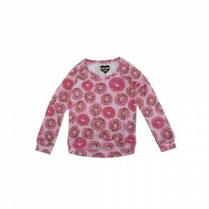 Overstock Modern Lux Girls Pink Donut Print Crew Neck Long Sleeve Blouse (10/12), Girl's(Polyester)