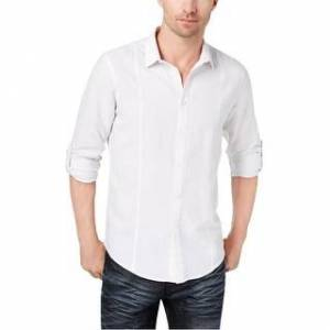 I-N-C Product I-N-C Mens Seamed Roll Button Up Shirt (White - Small), Men's(cotton, solid)
