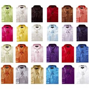 Overstock Men's Solid Color Satin Dress Shirt 1 (Ivory - 18.5 36-37)