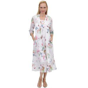 La Cera Women's Long Sleeve Printed White Caftan (Medium)(cotton)