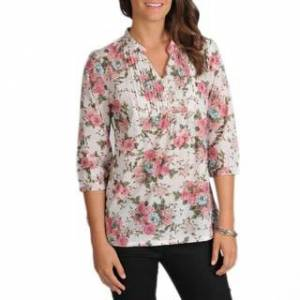 La Cera Women's 3/4-Sleeve Pink Floral Pintuck Cotton Tunic (M)
