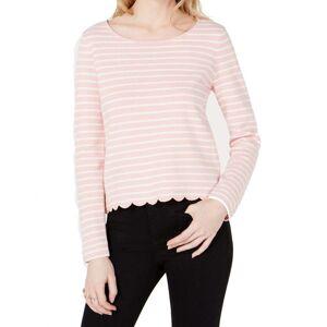 Overstock Maison Jules Womens Top Bubblegum Pink Size XL Knit Stripe Scallop Trim (XL), Women's