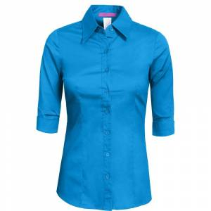 Overstock NE PEOPLE Womens Tailored 3/4 Sleeve Button Down Shirt [NEWT05] (caribe - 1X), Women's(Cotton, Solid)