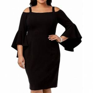 R&M Richards oversize R&M Richards Women's Dress Black Size 18W Plus Sheath Cold Shoulder (18W)(polyester)
