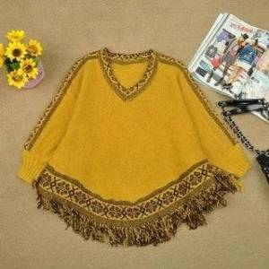 Overstock Fringed Shawl Cloak V-Neck Loose Sweater (Yellow), Women's