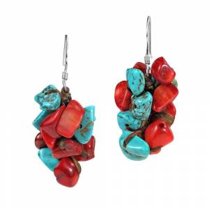 Aeravida Cluster Turquoise Synthetic Coral Dangle Sterling Silver Earrings (Coral - White), Women's, Aeravida(cotton)