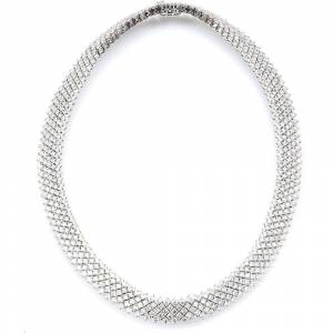 Overstock 14k White Gold 23 1/4ct TDW Estate Choker Diamond Necklace (G-H, SI1-SI2) (Estate Jewelry), Women's Size: 15 Inch