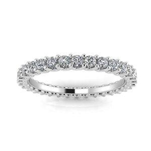 Estie G. 18K White Gold Round Diamond Shared Prong Eternity Ring (0.64-0.77ct. t.w.) SI1-SI2, J-K (Size: 5.5), Women's, Estie G.
