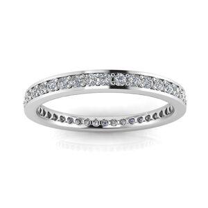 Estie G. 18K White Gold Round Diamond Channel Pave Set Eternity Ring (0.83-1.02 ct. t.w.) S1-S2, J-K (Size: 4.5), Women's, Estie G.