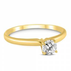 Marquee 1/4 Carat Round Diamond Solitaire Ring in 14K Yellow Gold (L-M Color, I2-I3 Clarity) (Size: 5.5), Women's, Marquee