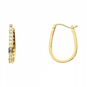 Curata 14k Yellow Gold Channel Round CZ Cubic Zirconia Simulated Diamond U sh Earrings 15x20mm Jewelry Gifts for Women, Women's